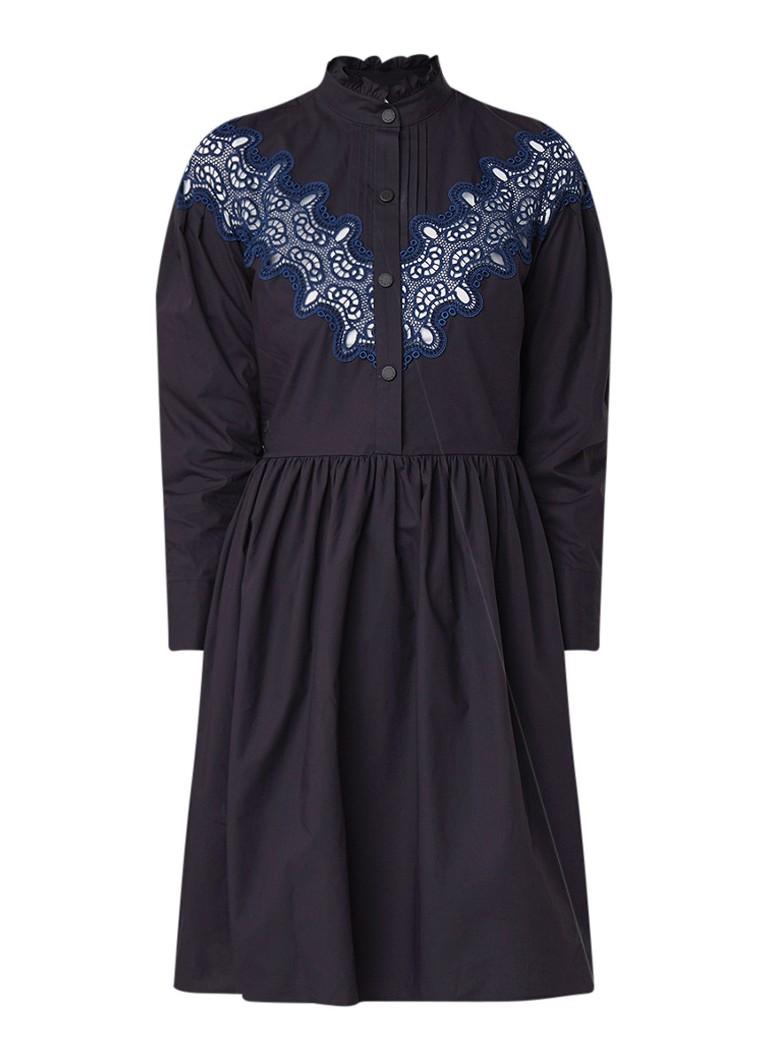 Sandro A-lijn blousejurk met detail van kant donkerblauw
