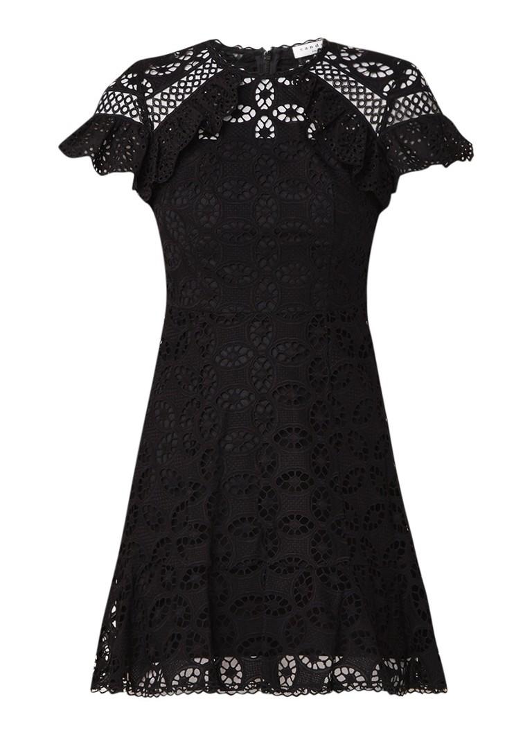 Sandro Mini-jurk van gebloemd kant met volant zwart