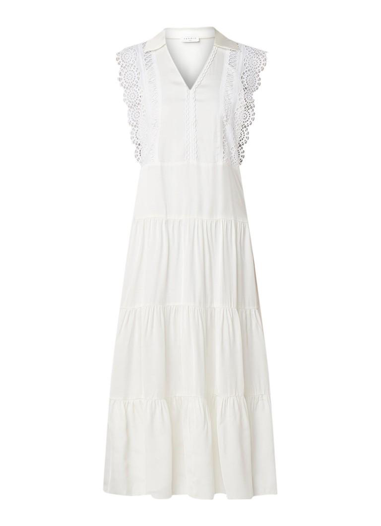 Sandro Mouwloze maxi-jurk met top van kant gebroken wit