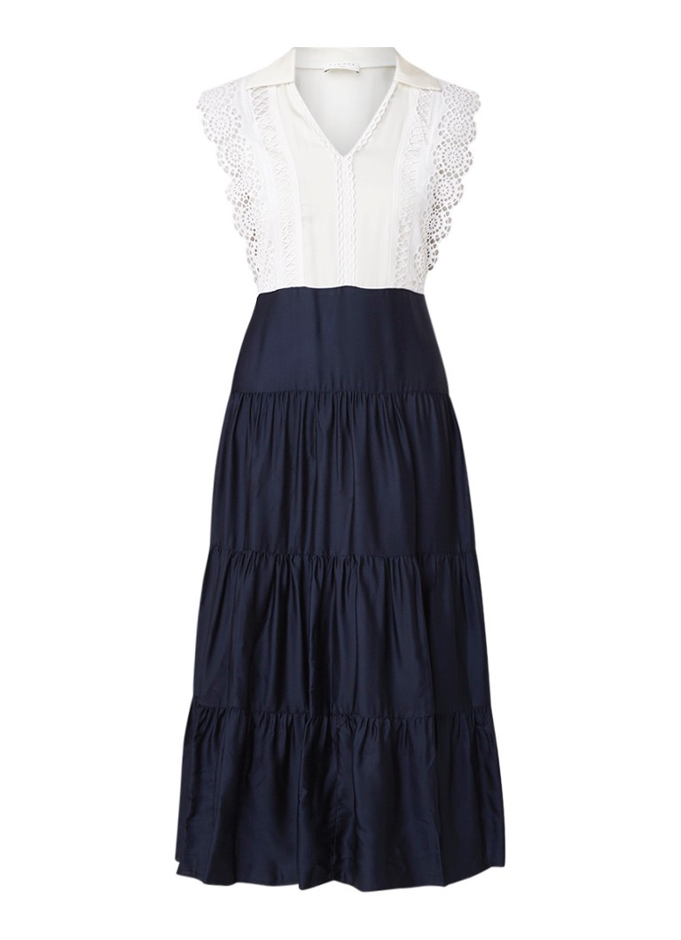 Sandro Mouwloze maxi-jurk met top van kant donkerblauw