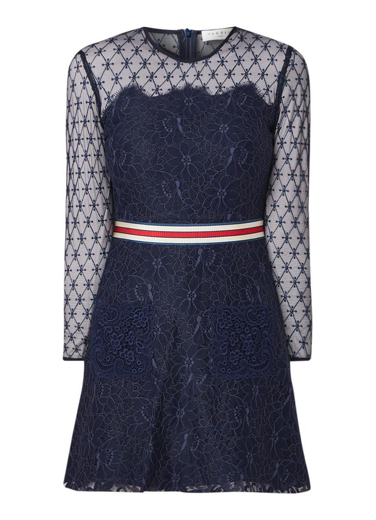 Sandro A-lijn mini-jurk van gebloemd kant donkerblauw