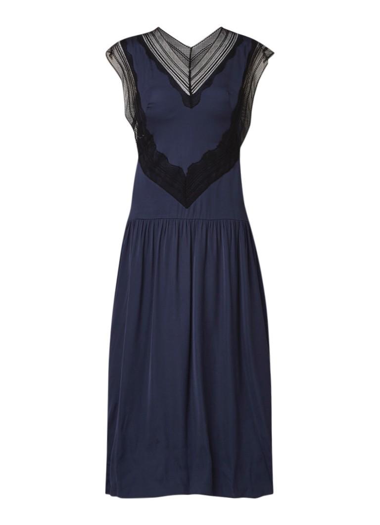 Sandro Maxi-jurk van satijn met broderie donkerblauw
