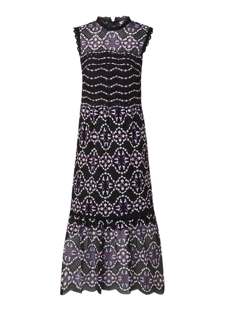 Sandro Mouwloze midi-jurk van gebloemd kant zwart
