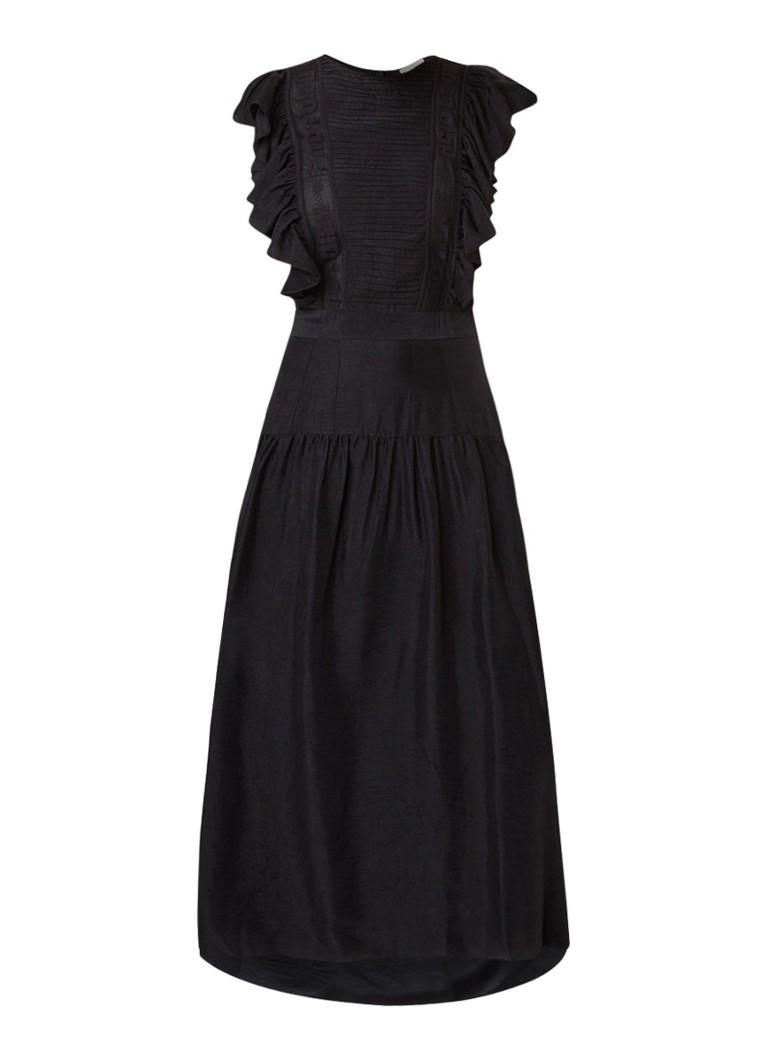 Sandro Maxi-jurk van satijn met volant en detail van mesh zwart