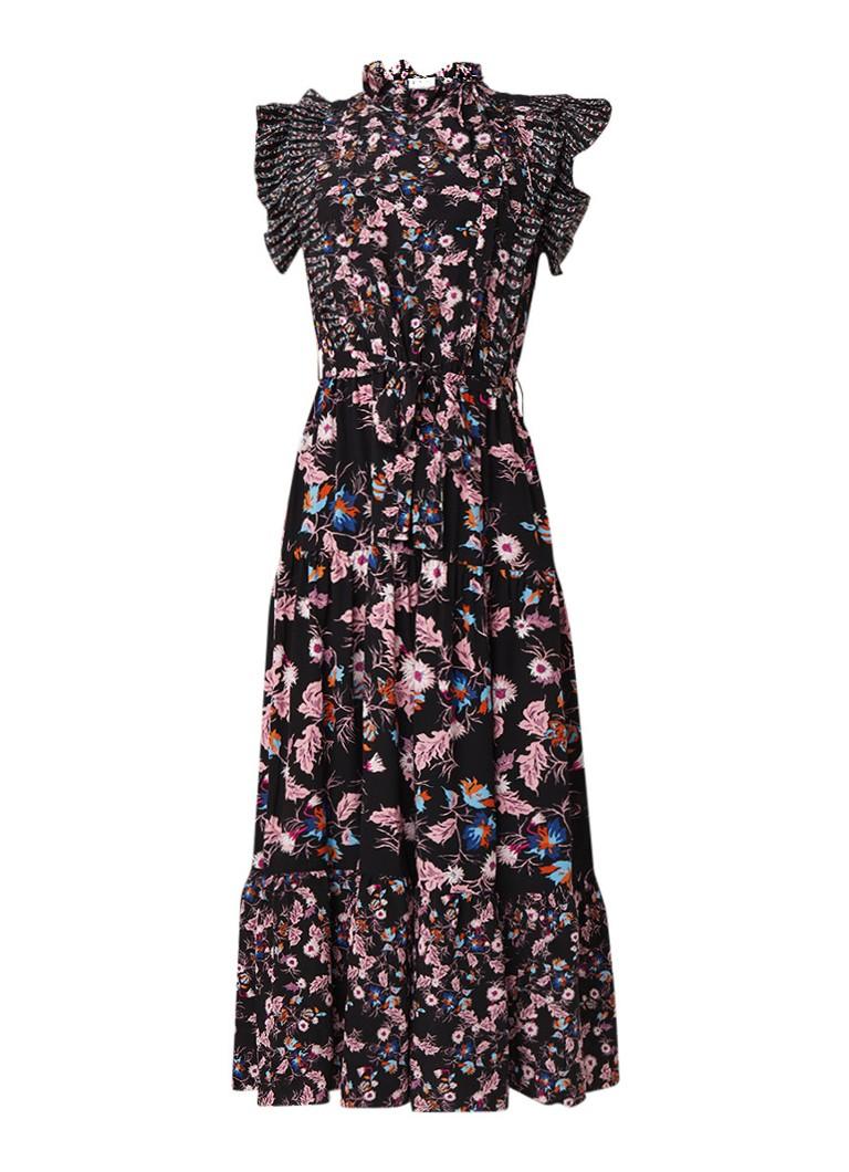 Sandro Maxi-jurk van zijde met bloemendessin zwart