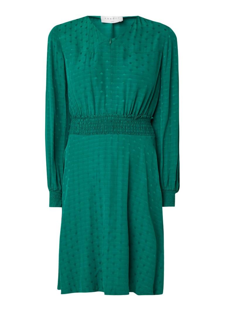 Sandro Gestipte mini-jurk met gesmockte taille groen