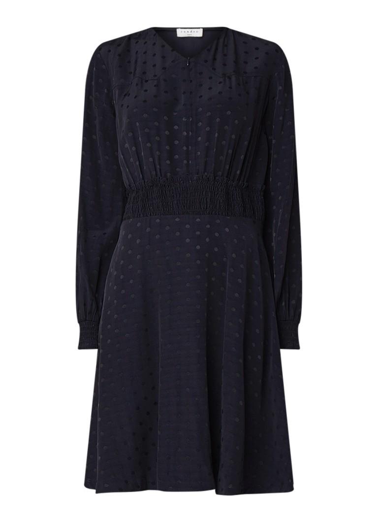 Sandro Gestipte mini-jurk met gesmockte taille donkerblauw
