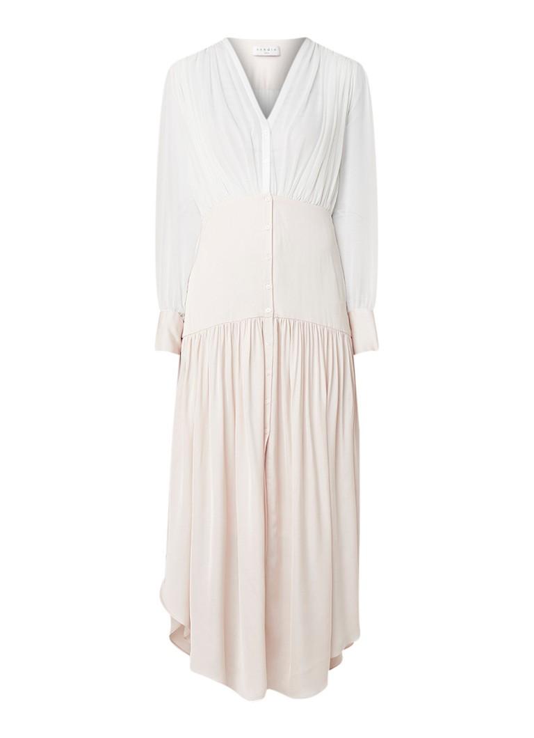 Sandro A-lijn blousejurk met rok van satijn lichtroze