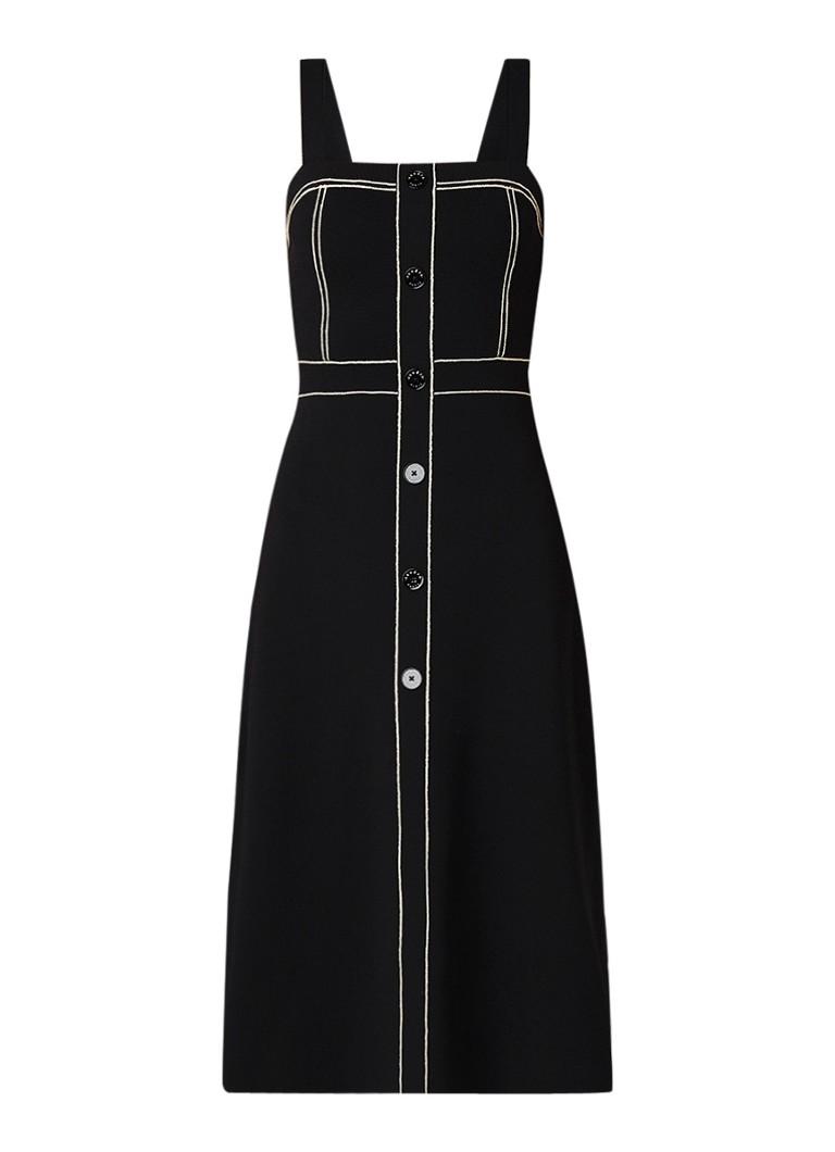 Sandro Edith midi A-lijn jurk van jersey met contrastnaden zwart