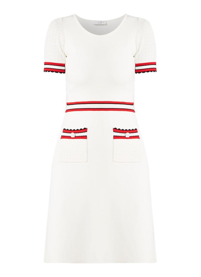Sandro Fijngebreide A-lijn jurk met steekzakken gebroken wit