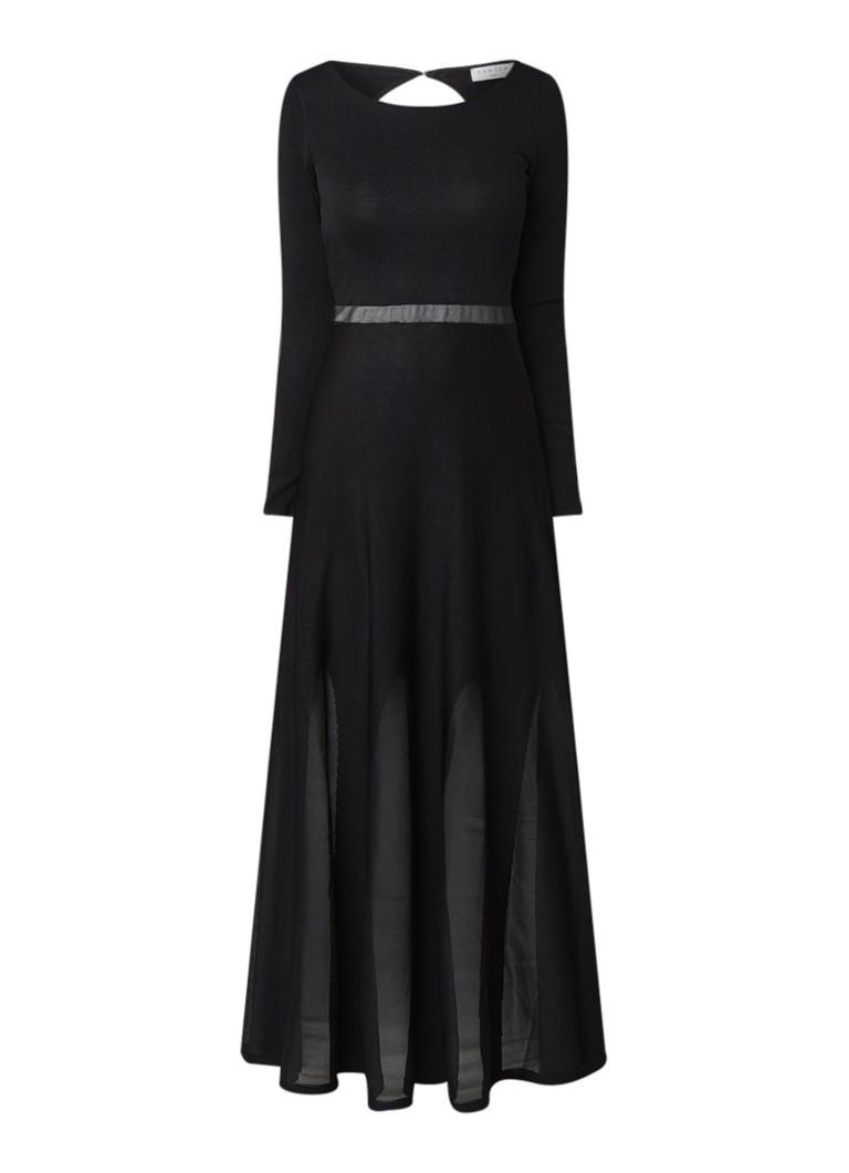 Sandro Fijngebreide A-lijn maxi-jurk met mesh zwart