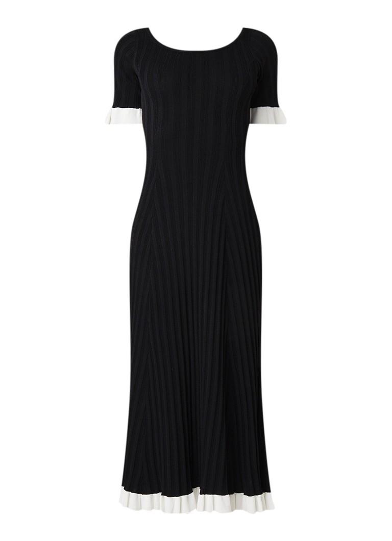 Sandro Ribgebreide A-lijn jurk met contrastboord zwart