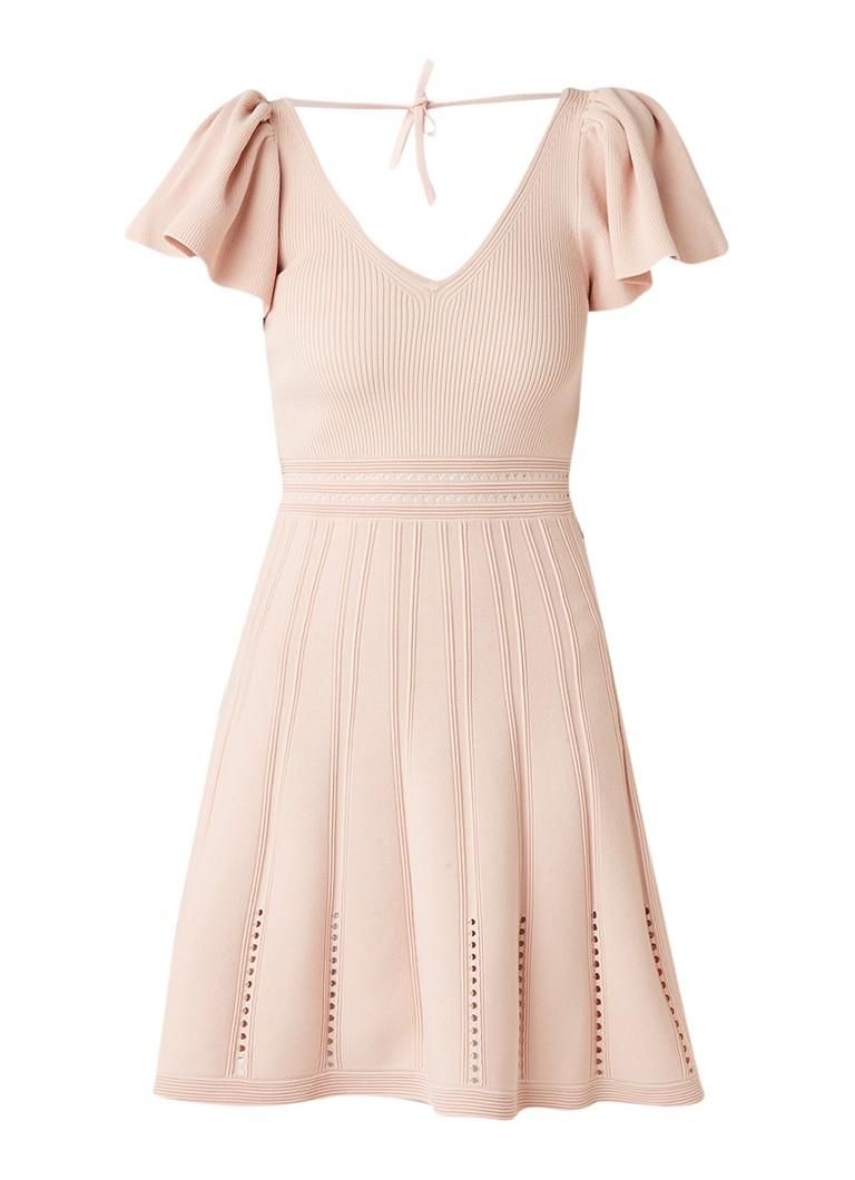 Sandro Fijngebreide A-lijn jurk met opengewerkte details naturel