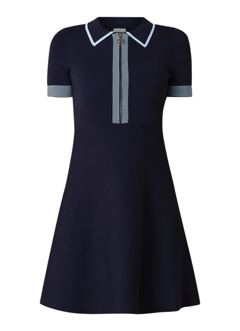Sandro Blue Marina A-lijn jurk met contrastboord middenblauw