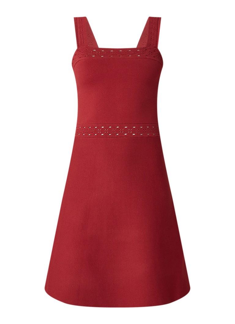 Sandro A-lijn mini-jurk met opengewerkte details steenrood