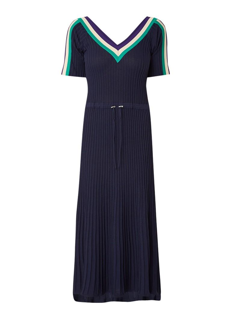 Sandro Ribgebreide midi-jurk met gestreepte bies donkerblauw