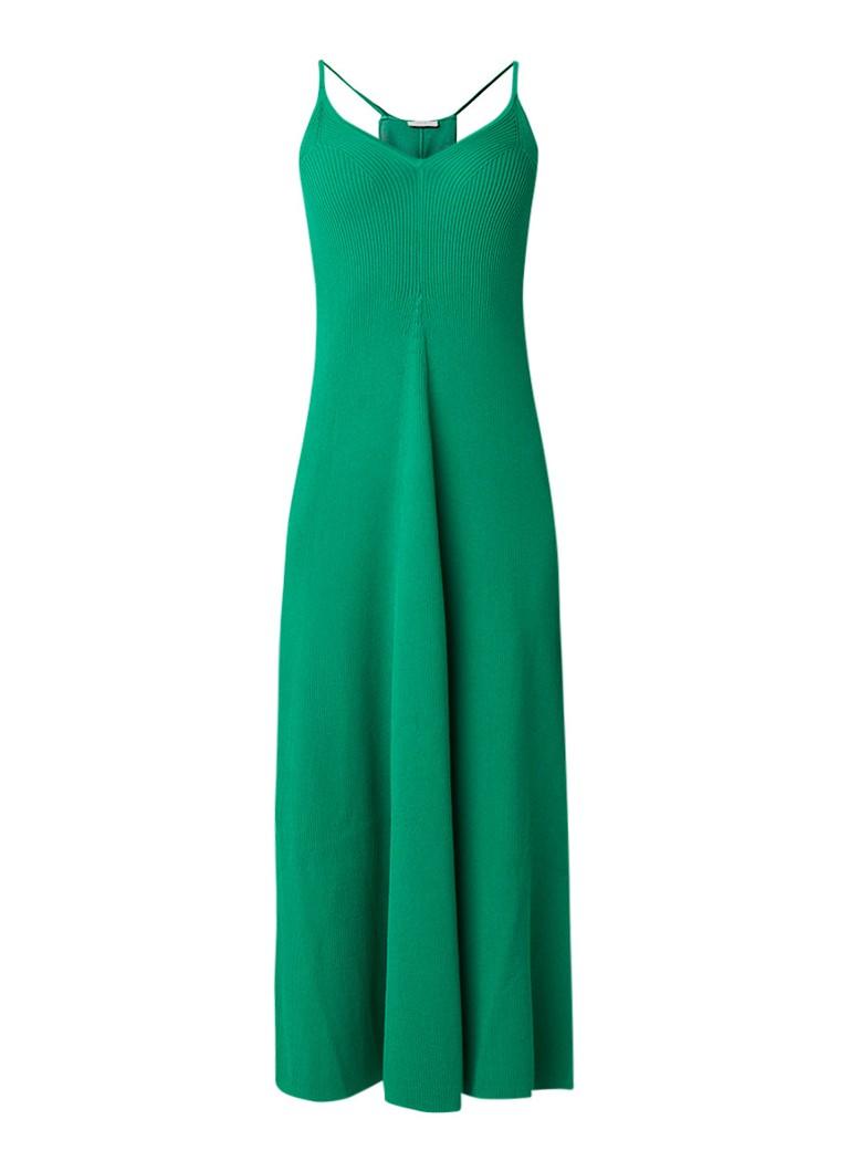Sandro Ribgebreide maxi-jurk met gekruiste bandjes groen