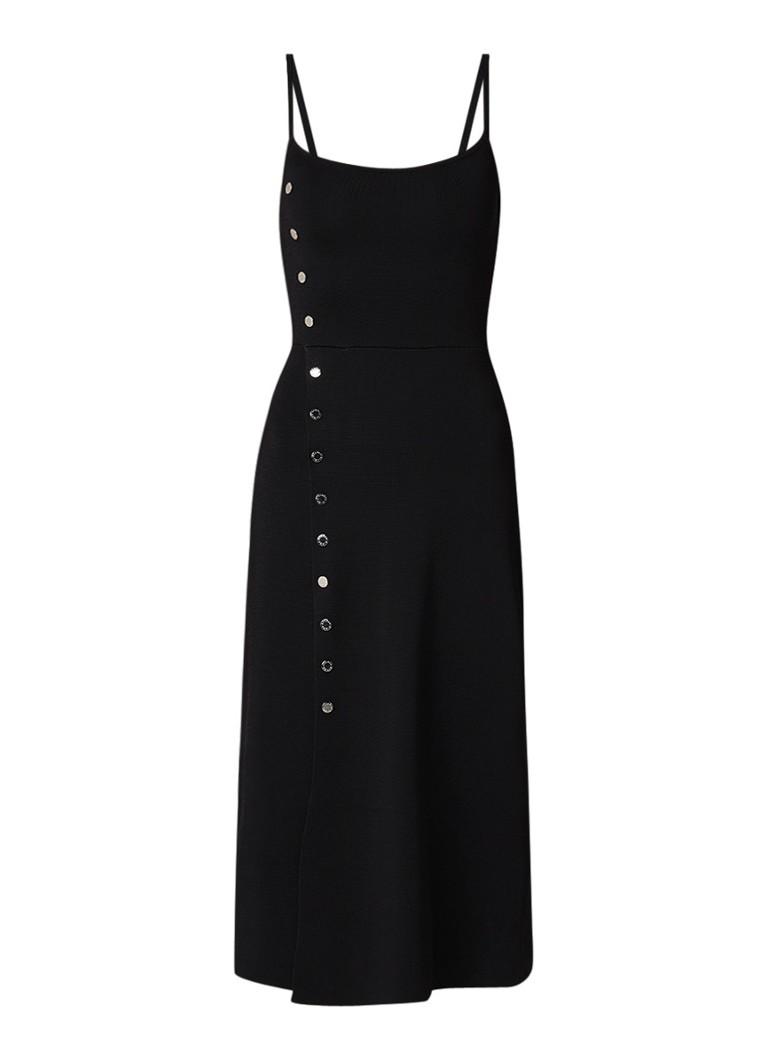 Sandro Walace midi A-lijn jurk van jersey met knoopdetail zwart