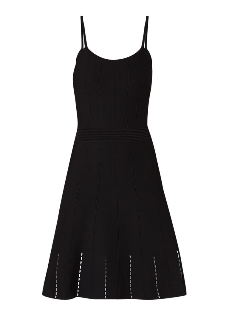 Sandro fijngebreide A-lijn jurk met opengewerkt detail zwart