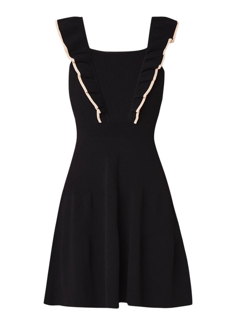 Sandro Fijngebreide A-lijn jurk met volant zwart