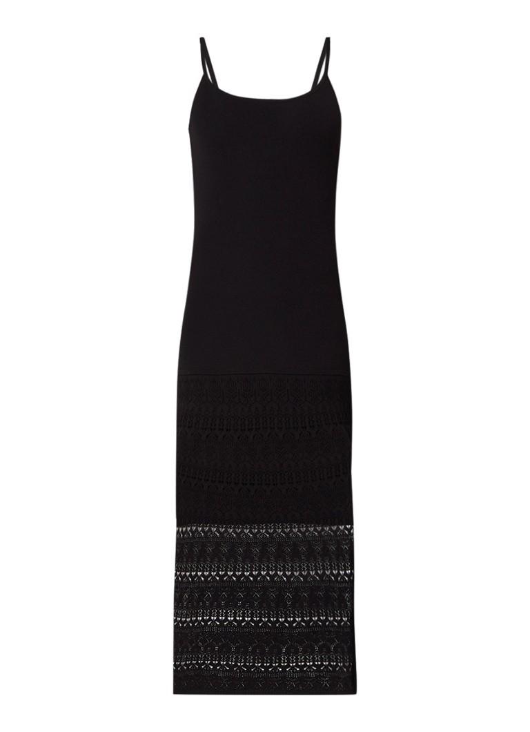 Sandro Roselyne max-jurk met details van kant zwart
