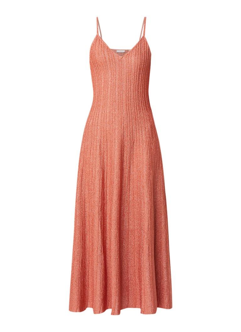 Sandro Uitlopende maxi-jurk met lurex perzikroze