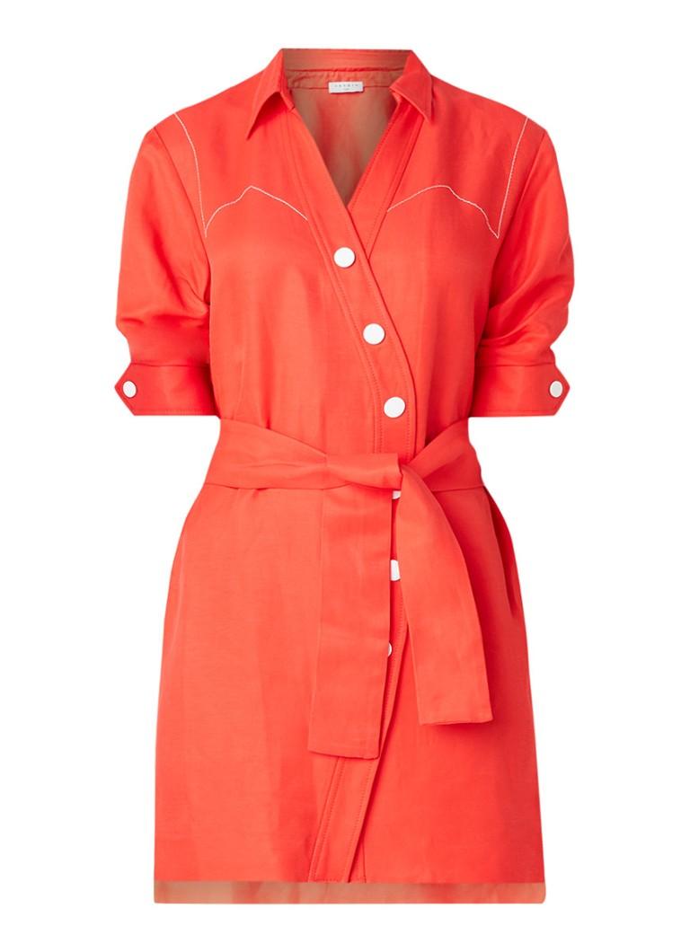 Sandro Mini blousejurk met contraststiksels en ceintuur rood