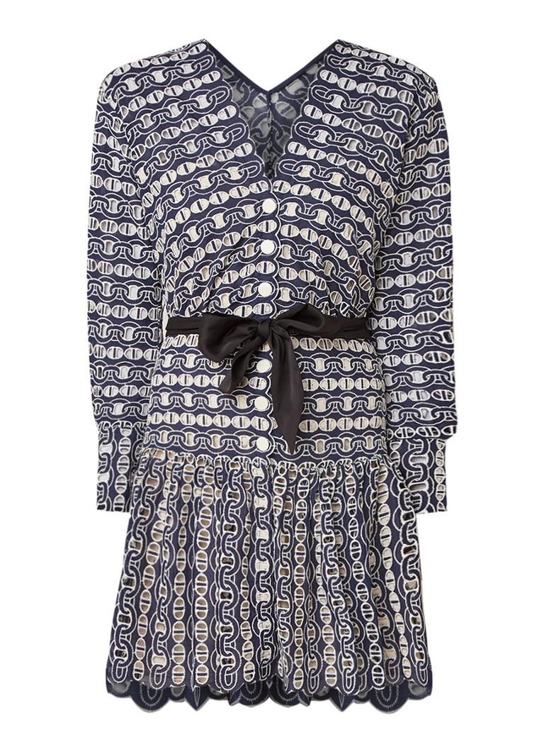 Sandro Opengewerkte jurk met kettingborduursel donkerblauw
