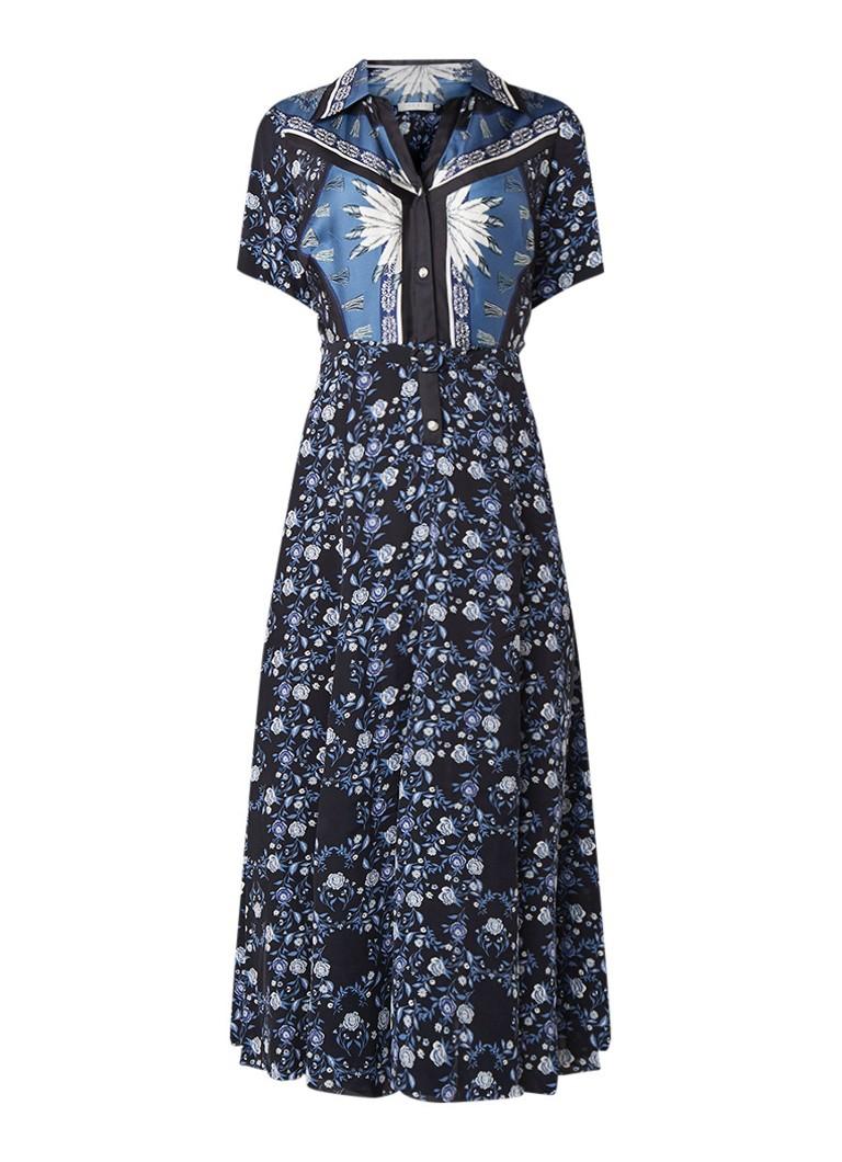 Sandro Maxi blousejurk van zijde met bloemendessin donkerblauw