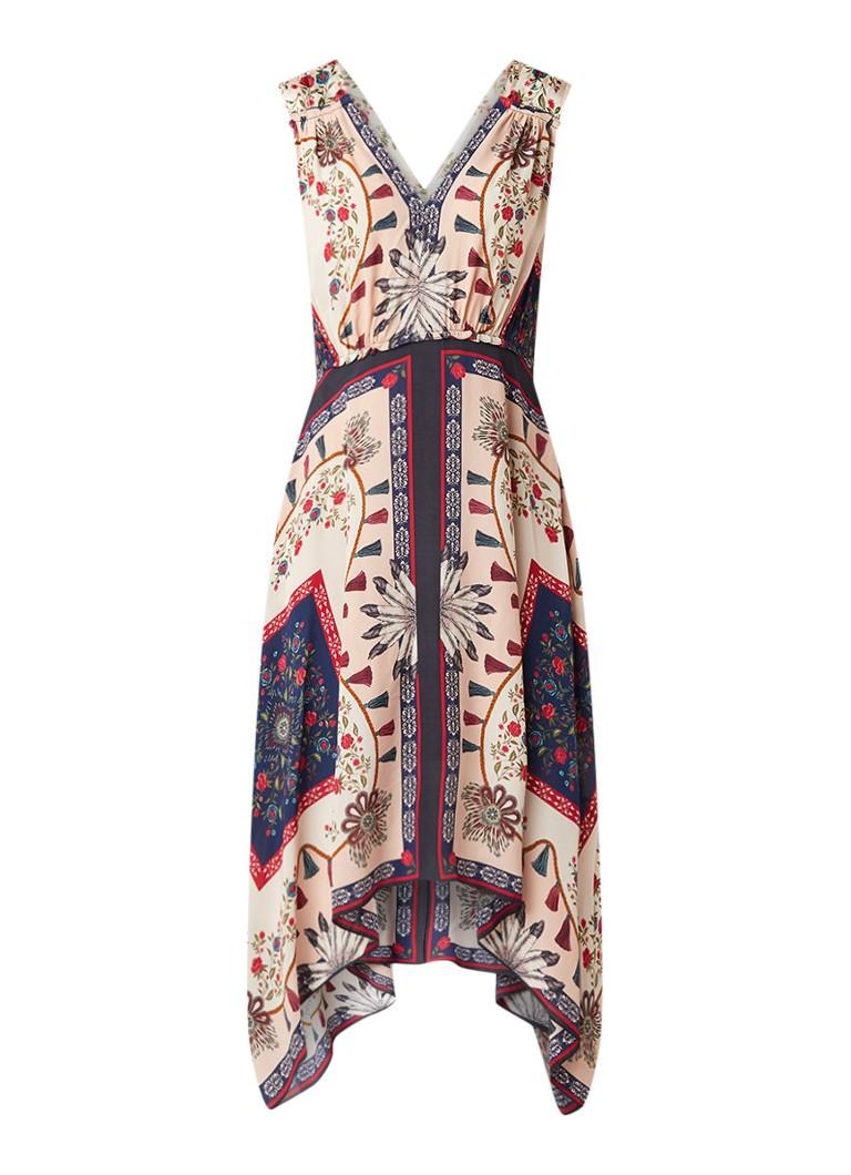 Sandro Asymmetrische jurk met bloemendessin in zijdeblend multicolor