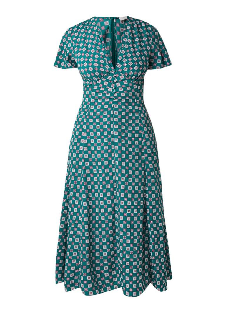 Sandro Midi-jurk met dessin en V-hals groen