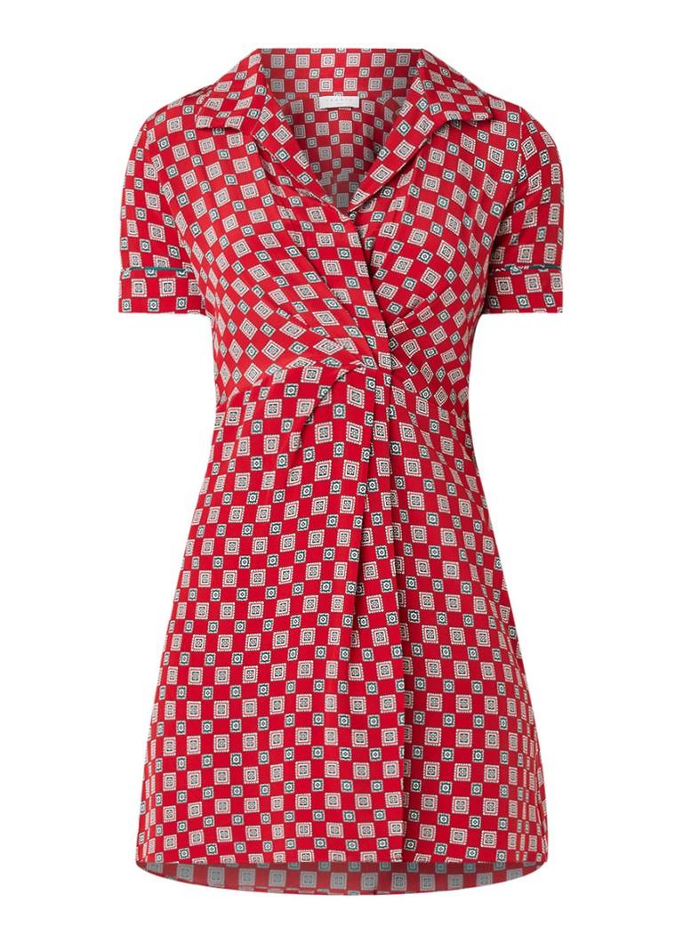 Sandro Mini-jurk van zijde met dessin rood