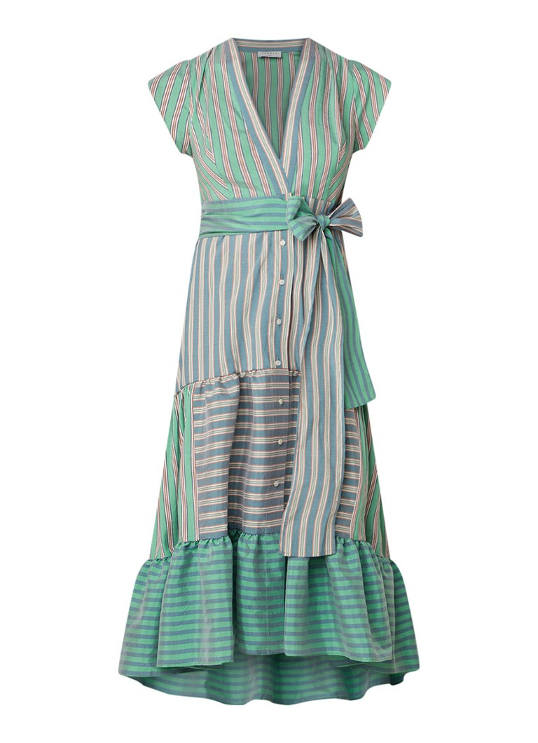 Sandro Maxi-jurk met streepdessin en volant groen