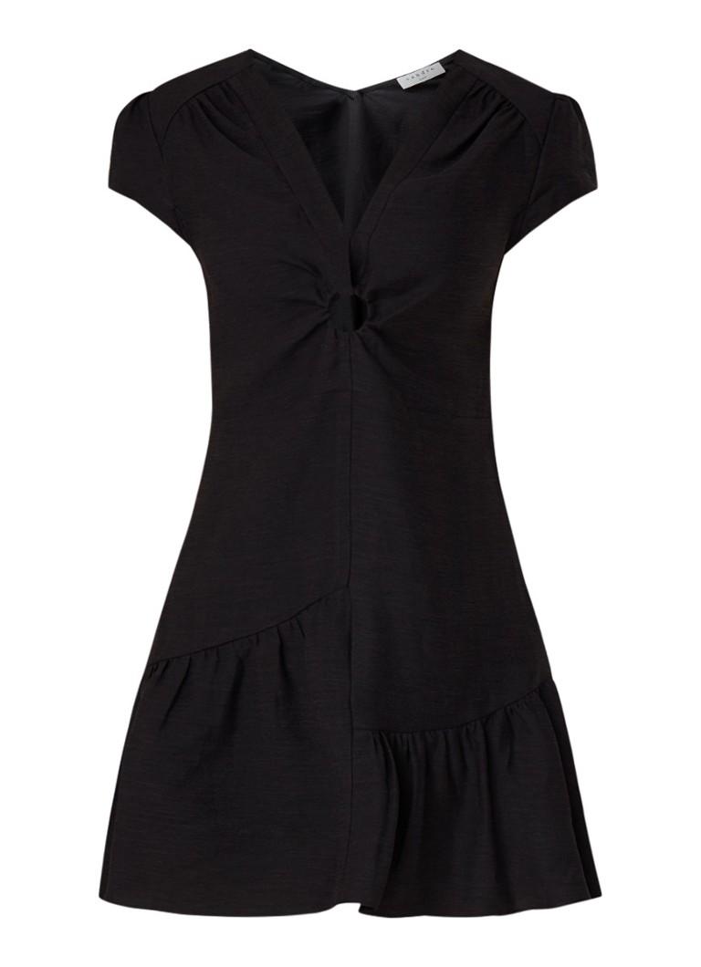Sandro Mini-jurk in linnenblend met gerimpelde details zwart
