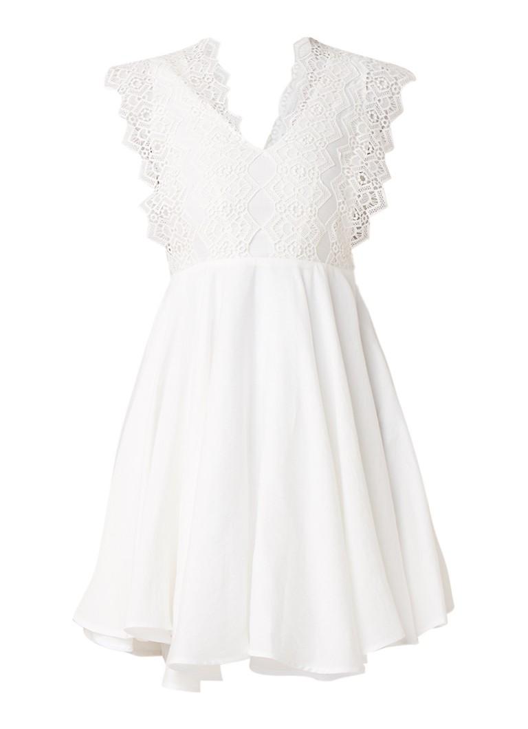 Sandro Mini-jurk met asymmetrische zoom en kant gebroken wit