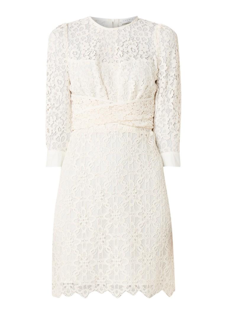 Sandro Mini-jurk van gebloemd kant en strikceintuur gebroken wit
