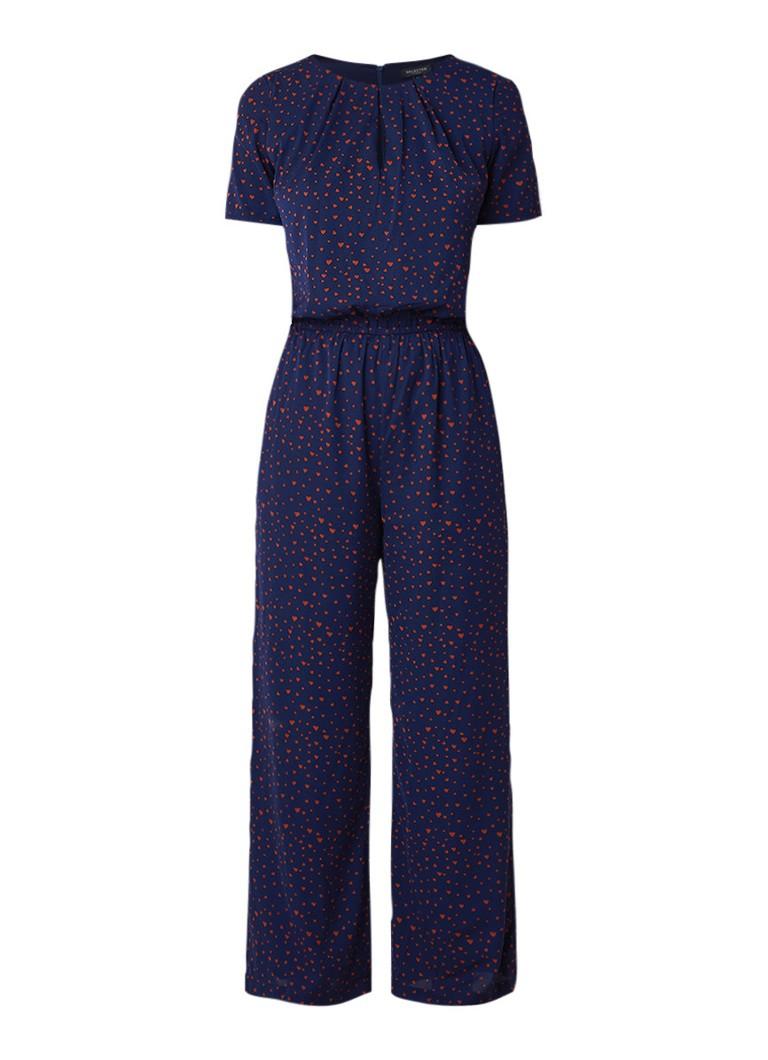 Selected Femme Mona wide fit jumpsuit met hartjesprint