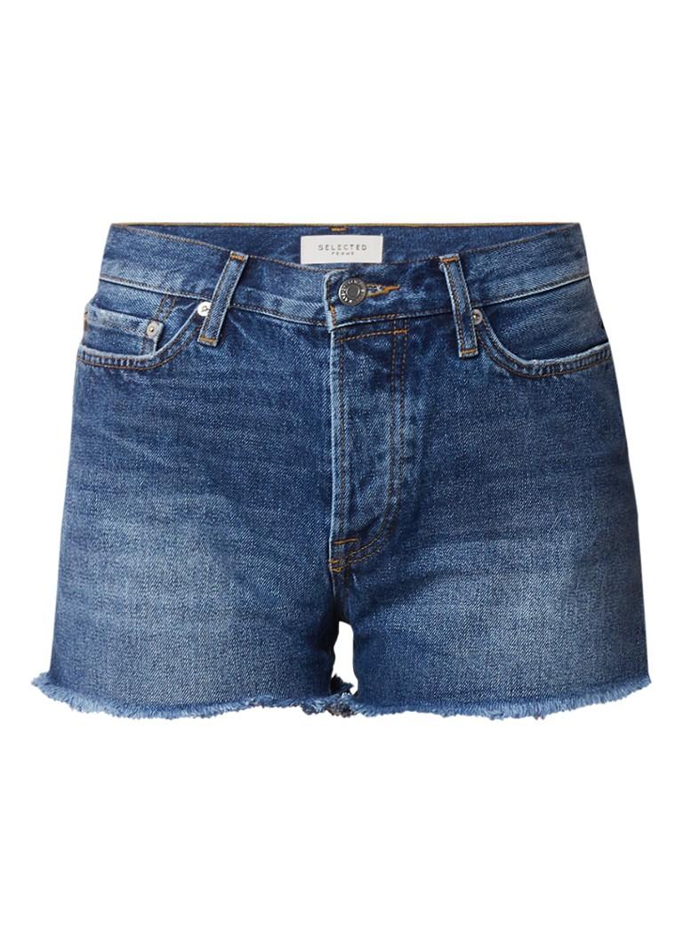 Selected Femme Stella denim shorts met gerafelde zoom