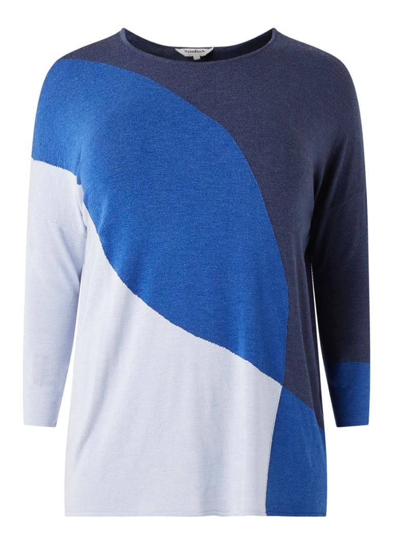 Studio 8 Louise fijngebreide pullover met colour blocking