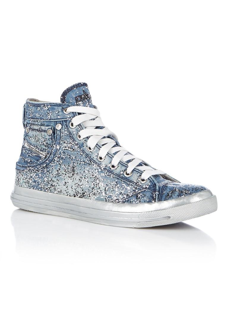 Diesel Denim sneaker met glitter