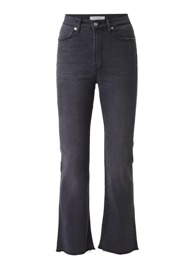 Selected Femme Lana cropped bootcut jeans met gerafelde zoom