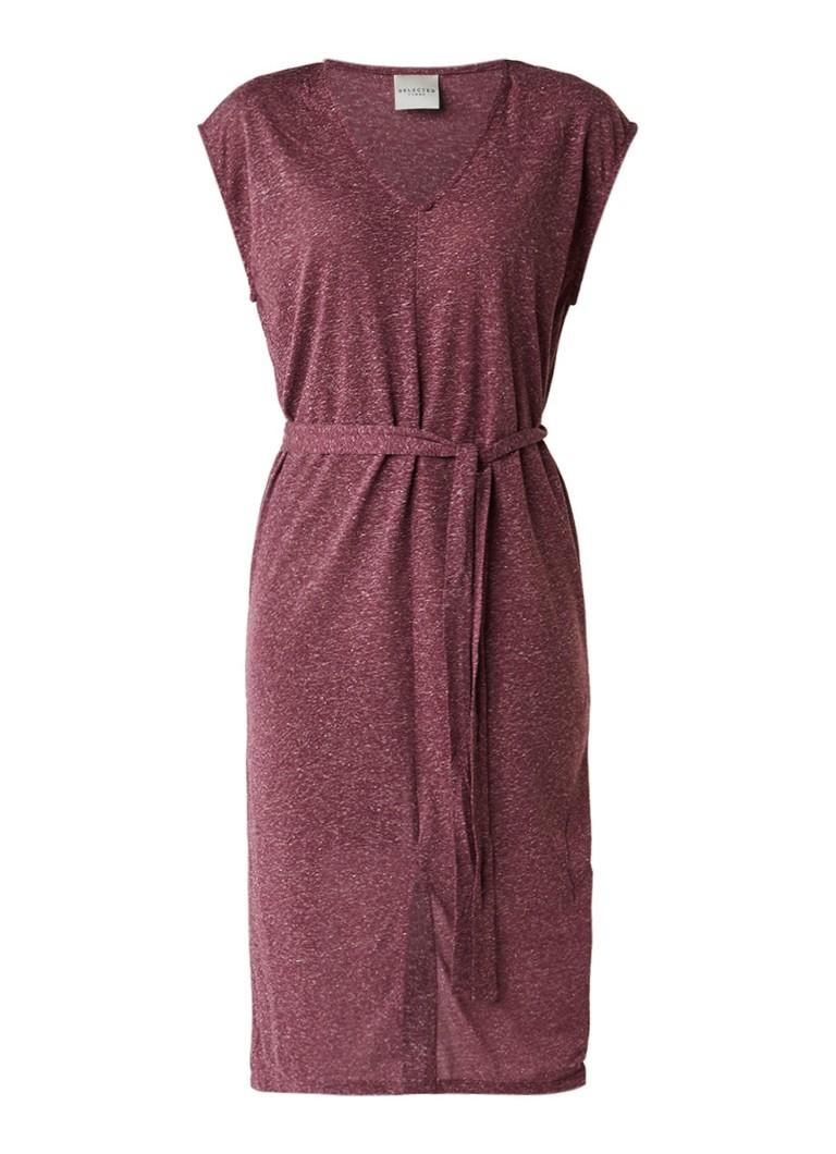 Selected Femme Ivy midi-jurk met strikceintuur cranberryrood