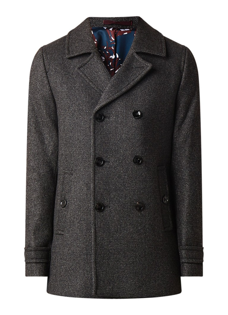 Ted Baker Grilld double breasted peacoat overjas in wolblend