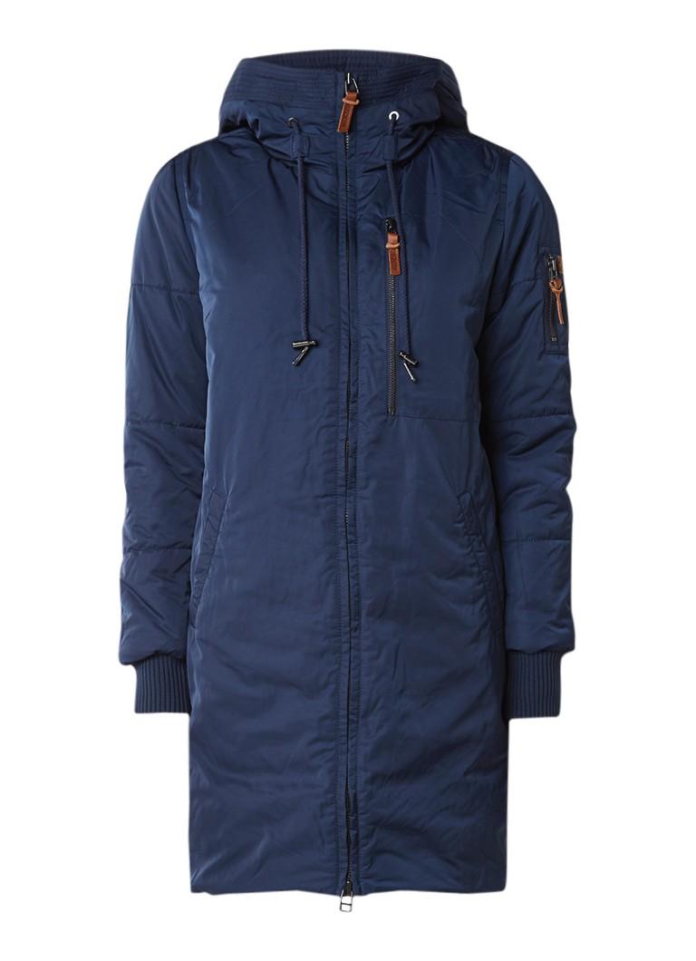 Moscow gewatteerde lange winterjas donkerblauw