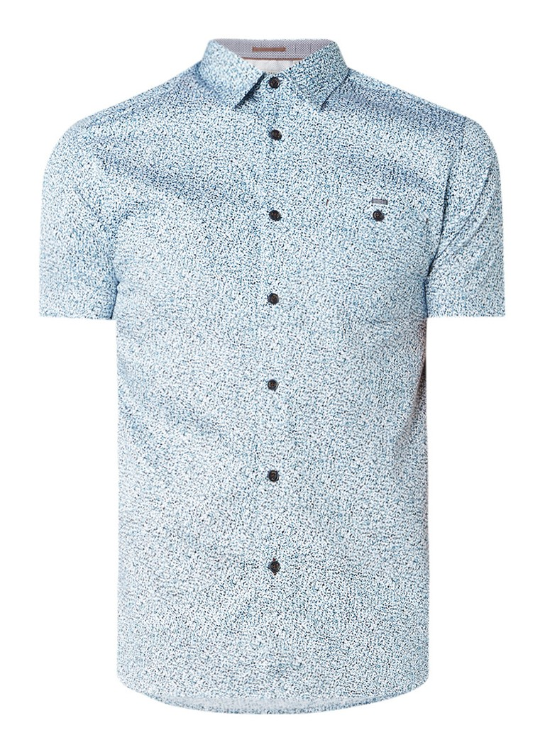 Ted Baker Rens slim fit overhemd met gemêleerd dessin en korte mouw