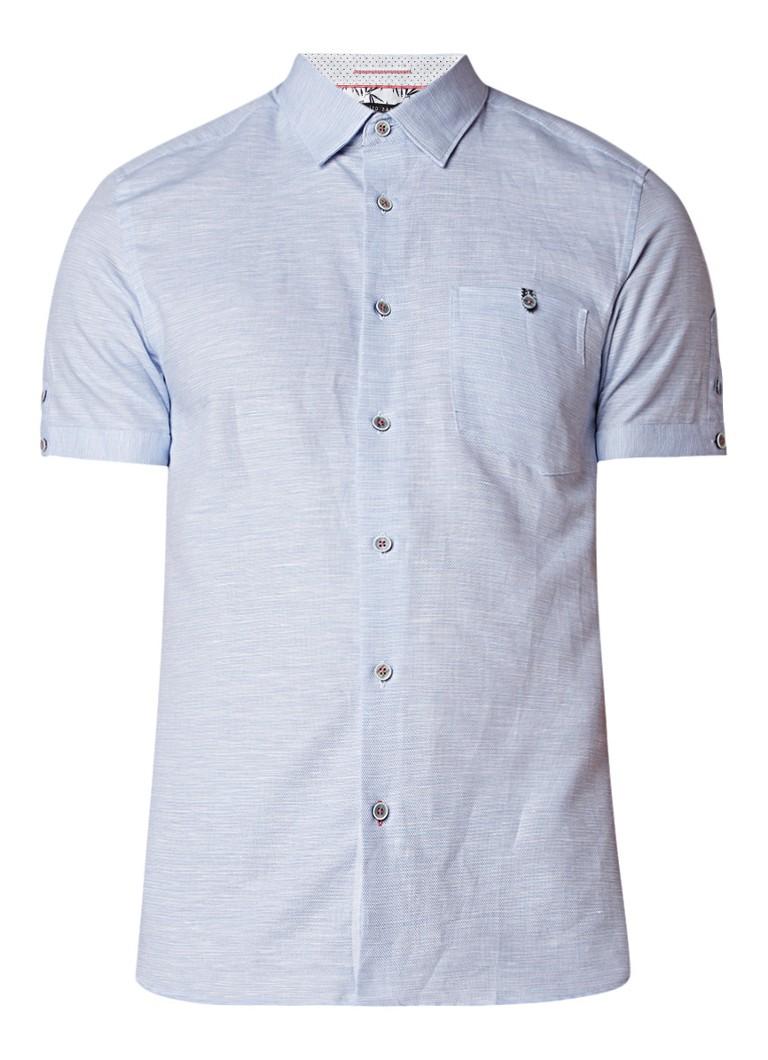 Ted Baker Peeze slim fit overhemd in linnenblend met korte mouw
