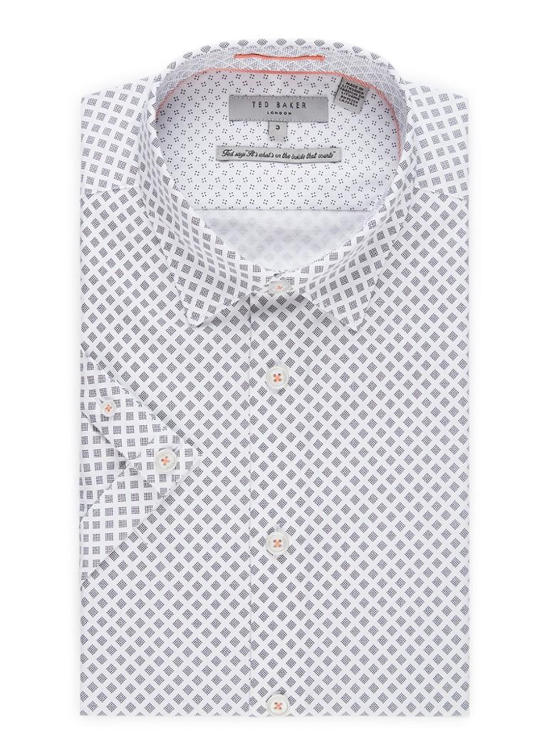 Image of Ted Baker Foresth slim fit overhemd met dessin en korte mouw