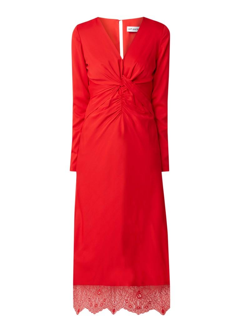 Self-Portrait Midi-jurk met rugdecolleté en kant donkerrood