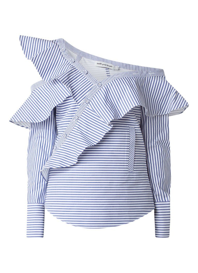 Self-Portrait Striped Frill top met asymmetrische halslijn lichtblauw