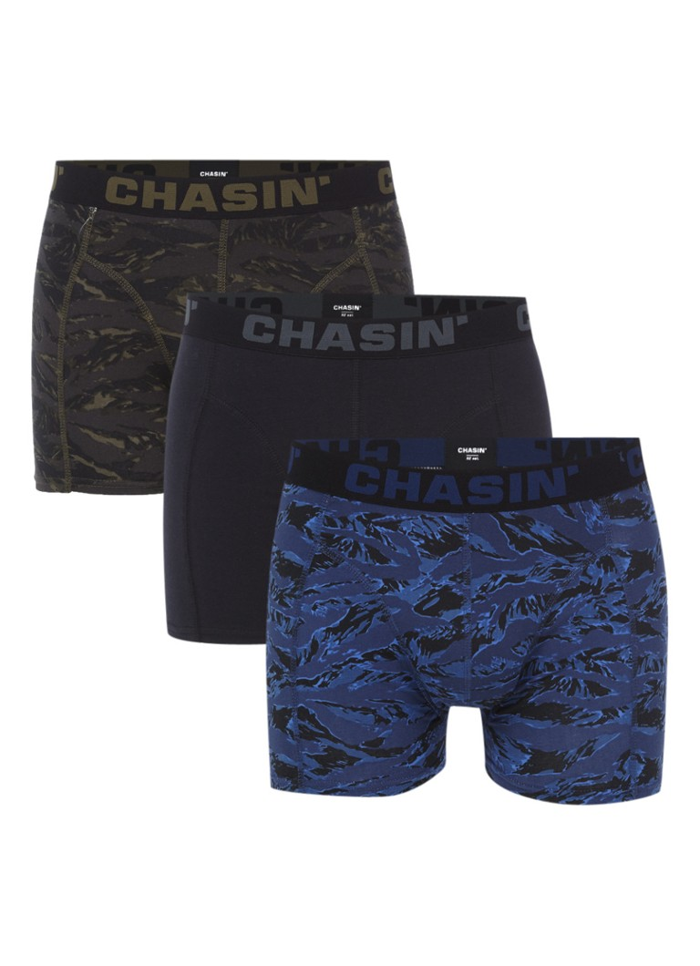 Chasin Thrice Camou boxershorts in uni en dessin in 3-pack
